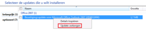 Verhinder dat de update weer ingeladen wordt